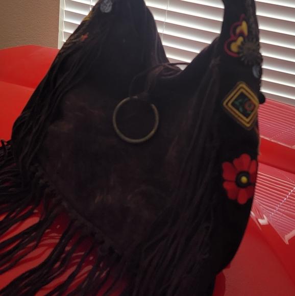 Suede fringed, embroidered shoulder bag